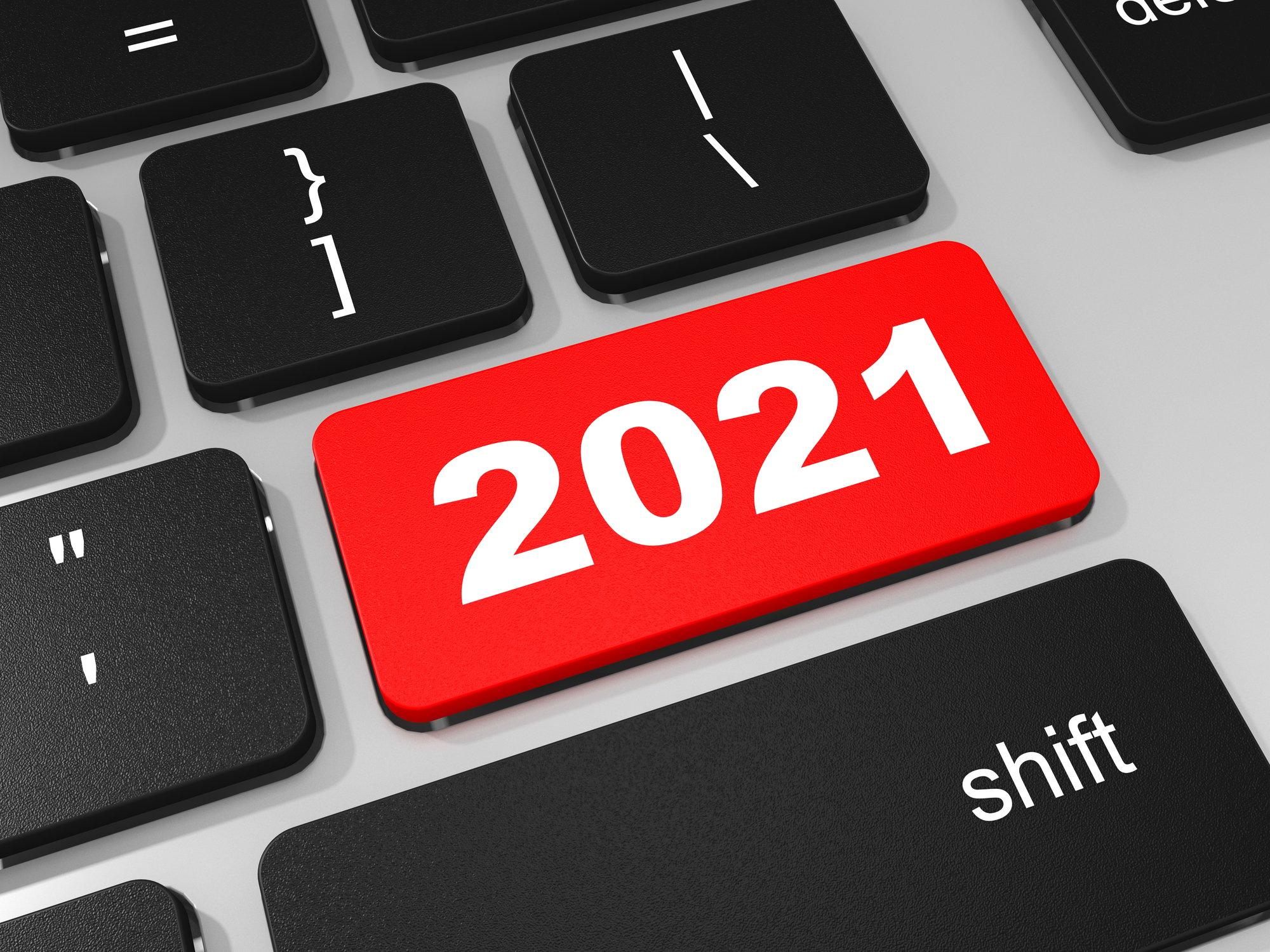 2021 new year key on keyboard