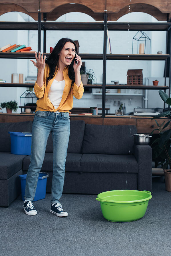 Aggressive woman with smartphone dealing with water leak in living room