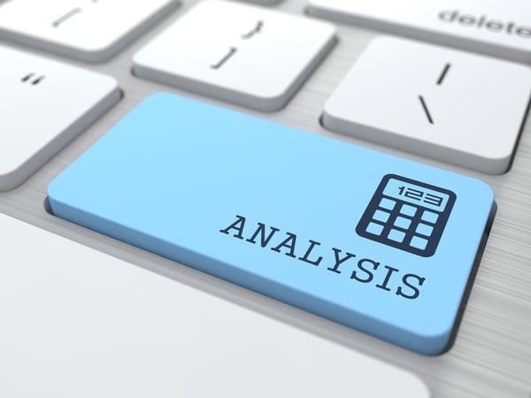 Data Analysis Concept Analysis word on Blue Computer Button