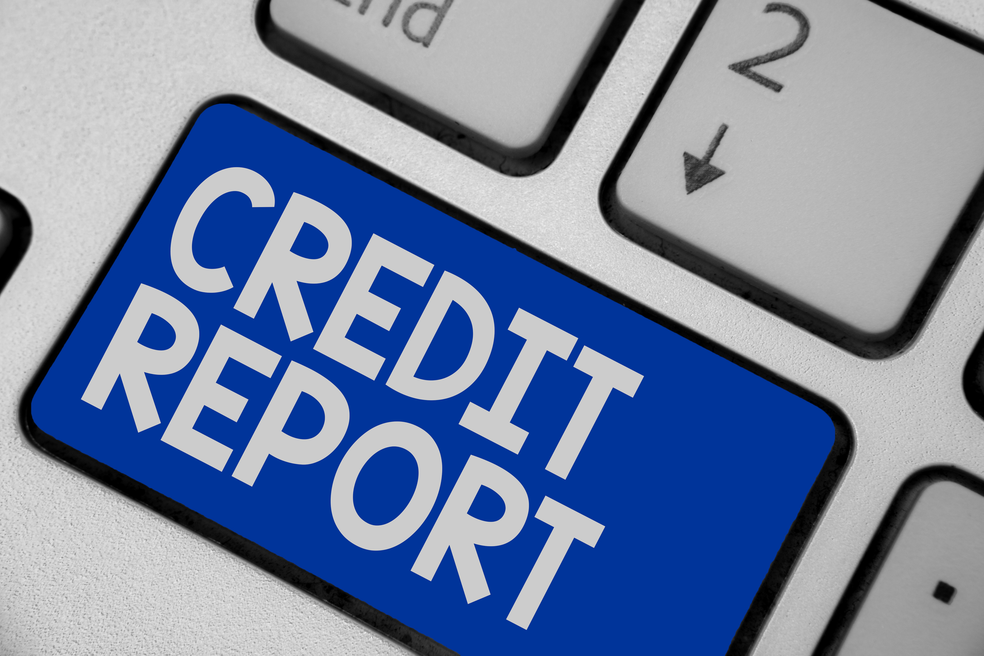 Writing note showing Credit Report. Business photo showcasing Borrowing Rap Sheet Bill and Dues Payment Score Debt History Keyboard blue key Intention computer computing reflection document