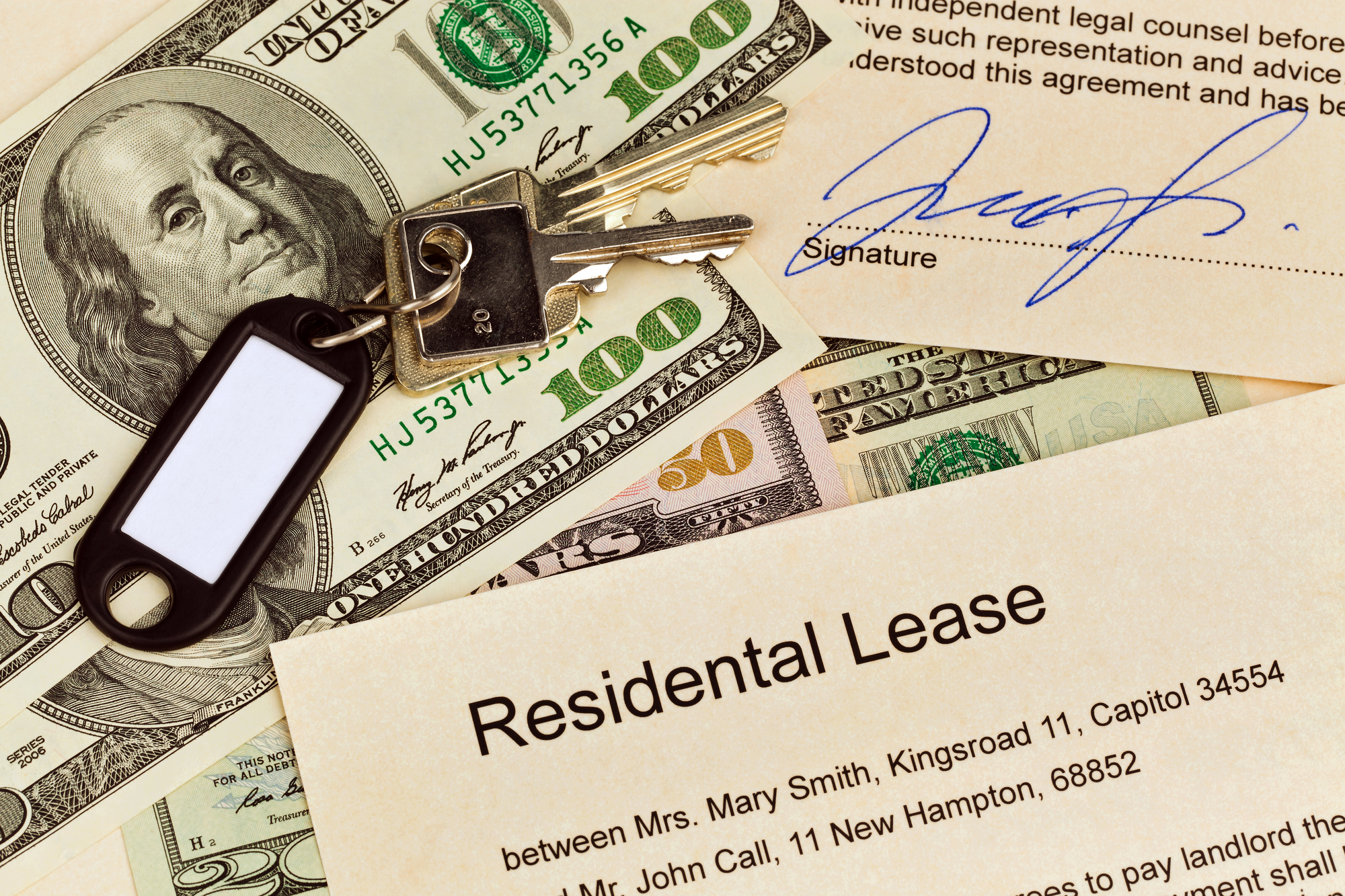 Residential Lease with Bills and Keys